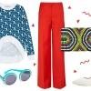 Vesta Etre Cecile; hlače Amanda Wakeley; clutchNanette Lepore; naočale Karen Walker; cipele Forever 21