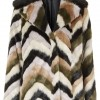 Topshop Faux-Fur Contrast Collar Patterned Coat