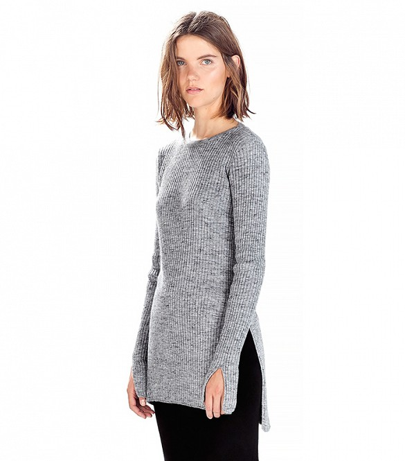 Zara Grey Ribbed Sweater With Side Slits 94