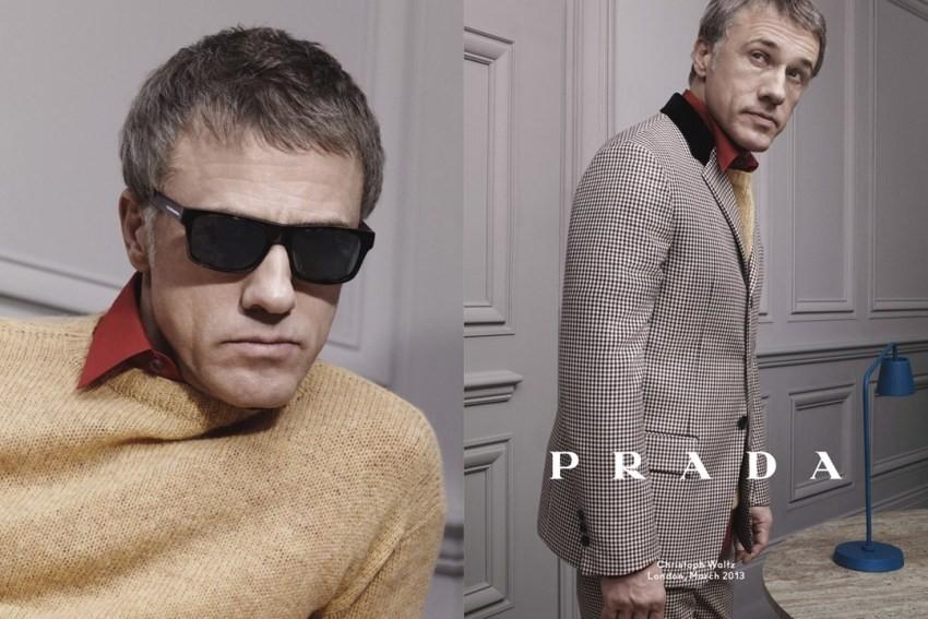 Glumac Christopher Waltz u kampanji za Pradu za jesen/zimu 2013/14. talijansku modnu kuću, Djago Odbjegli