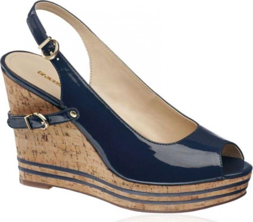 Deichmann trendovske ljetne cipele  s punom pluto plutenom petom mornarske