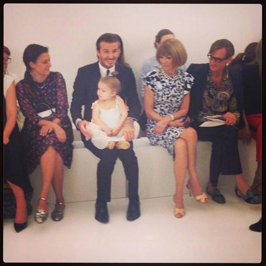 David i Harper Beckham i Anna Wintour
