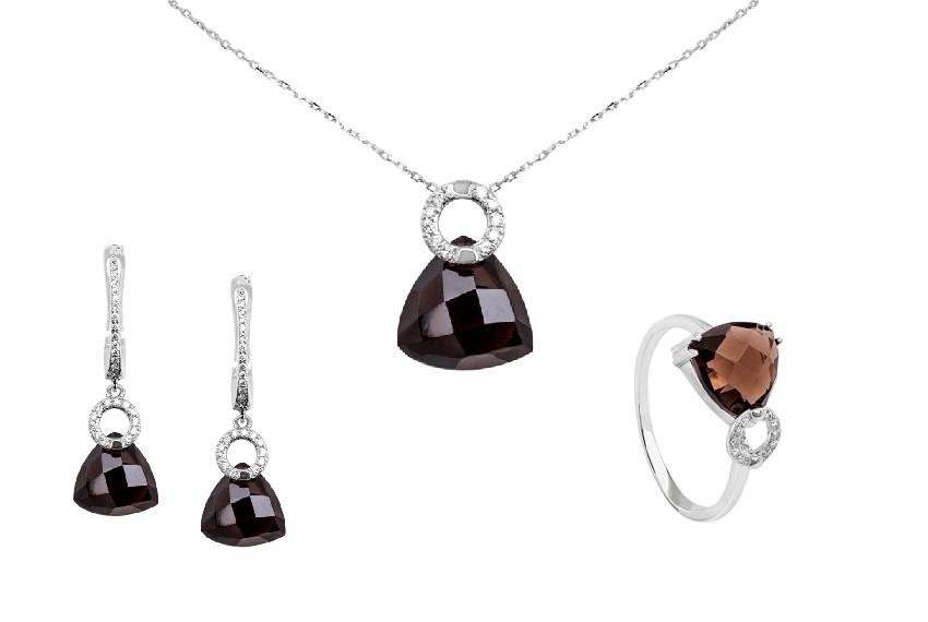 Zaks dijamantni nakit s briljantima - kompleti s dragim kamenom smeđi