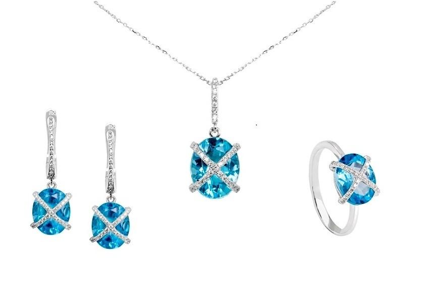 Zaks dijamantni nakit s briljantima - kompleti s dragim kamenom tirkizni