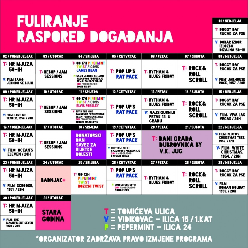 Raspored događanja na Fuliranju