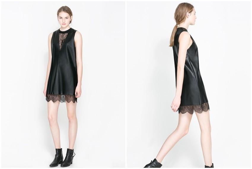 Zara crna kožna haljina s čipkom , 399 kn