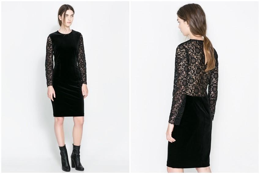 Zara haljina, crni pliš o čipka
