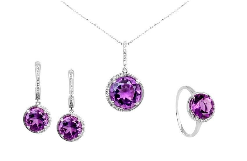 Zaks dijamantni nakit s briljantima - kompleti s dragim kamenom ljubičasta