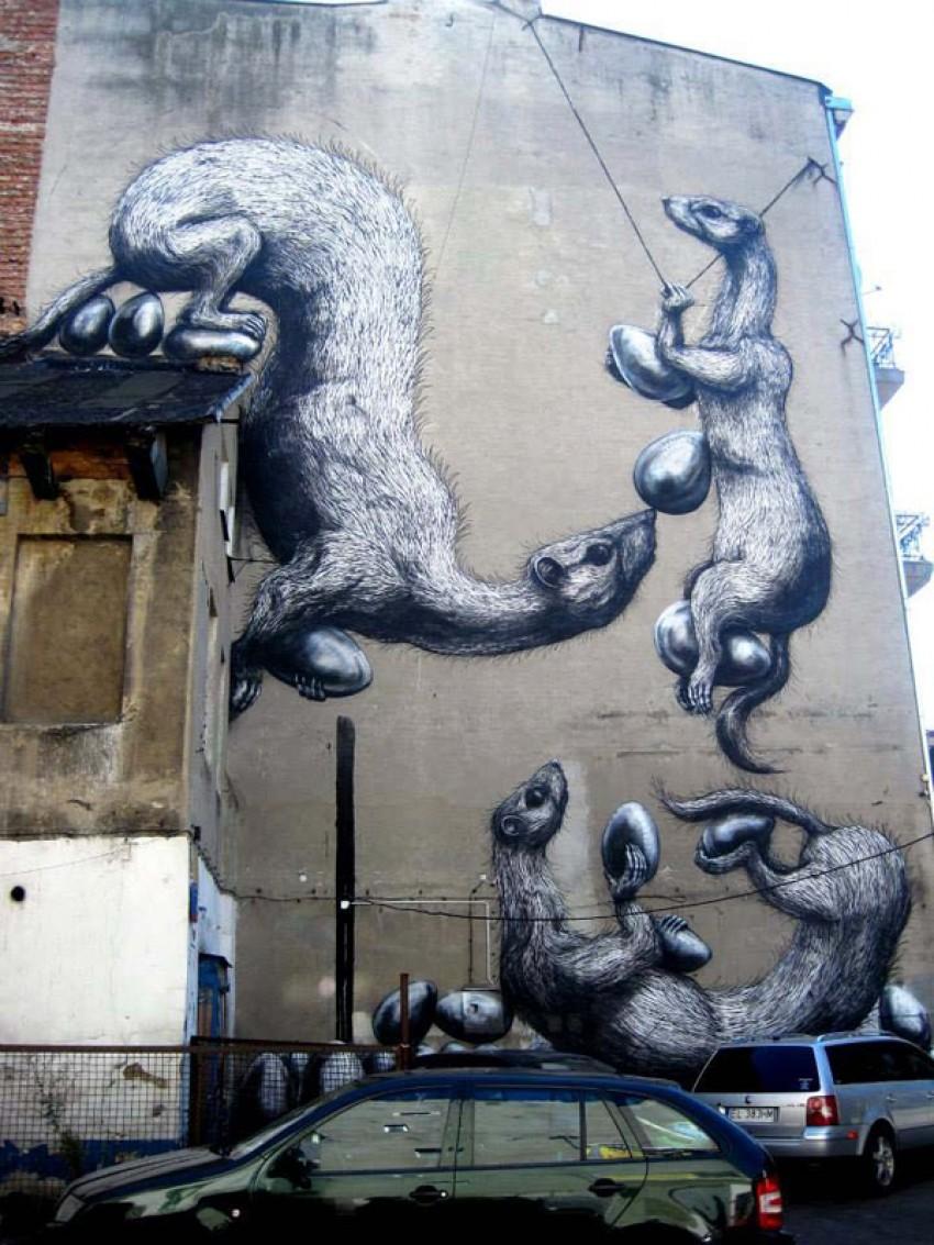 Lodz, Poljska, autor: ROA za Fundacja Urban Forms