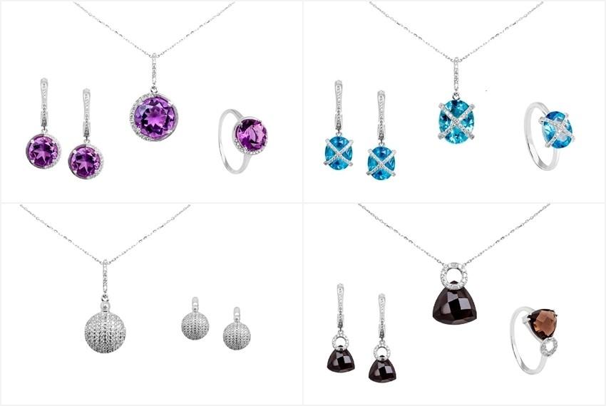 Zaks dijamantni nakit s briljantima - kompleti s dragim kamenom