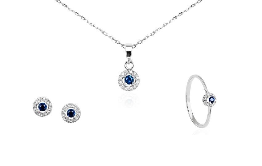 Zaks dijamantni nakit s briljantima - kompleti s dragim kamenom plavi