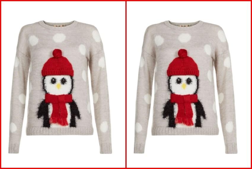 Božićni džemperi, Sivi pingvin džemper, 255 kn, New Look