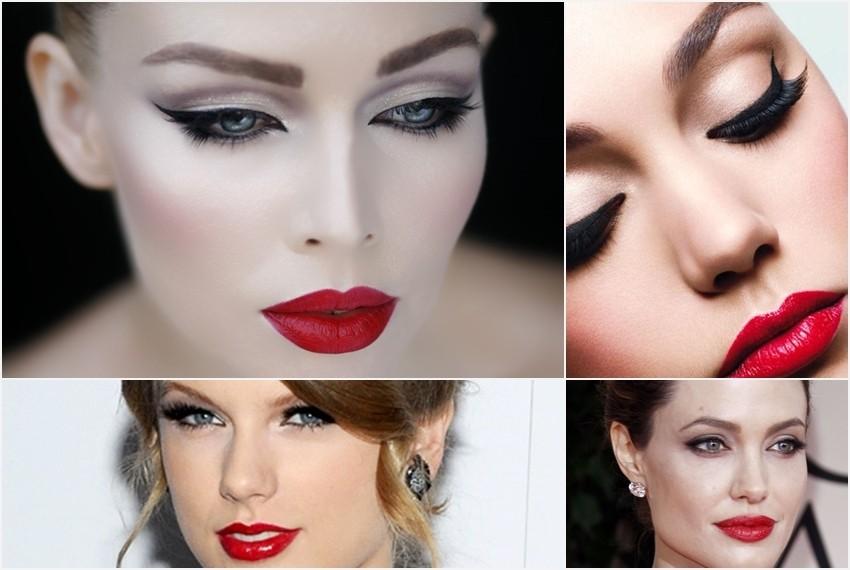 Crveni tuž+eyeliner- prijedlog šminke