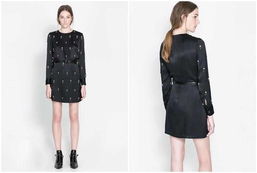 Zara crna saten haljina, 699 kn