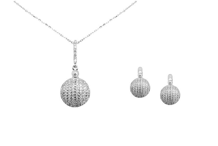 Zaks dijamantni nakit s briljantima - kompleti s dragim kamenom srebrni bijelo zlato