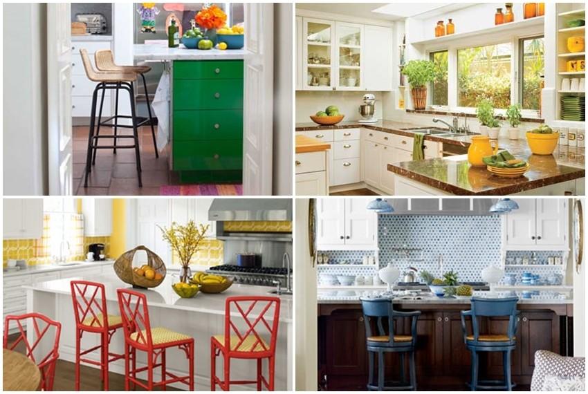 Komadi namještaja u živim bojama podižu cijeli prostor kuhinje