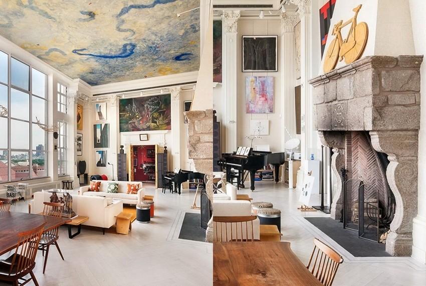 Kamin i strop su dva glavna ukrasna detalja u stanu