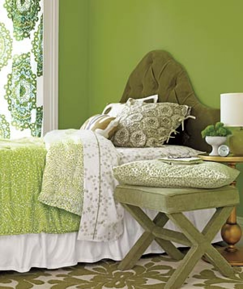 bedroom Decorating Tricks for Your Bedroom green bedroom 300