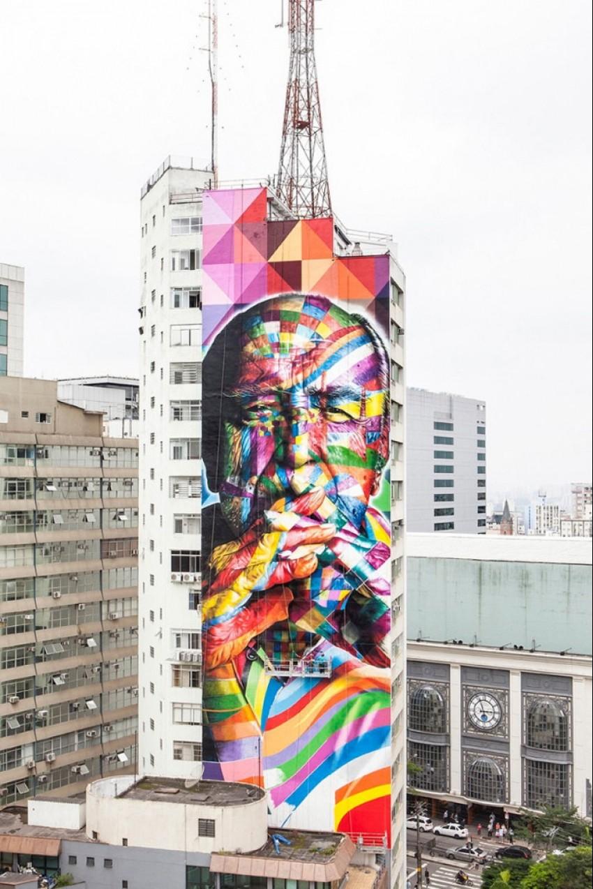 U čast Oscara Niemeyera: 52 metra visok mural u Brazilu