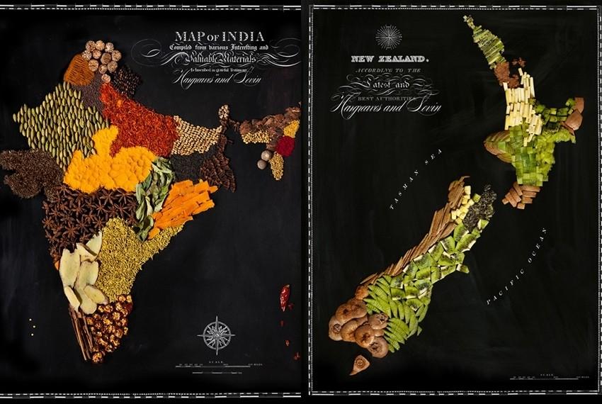 Indija i Novi Zeland na karti od prave hrane