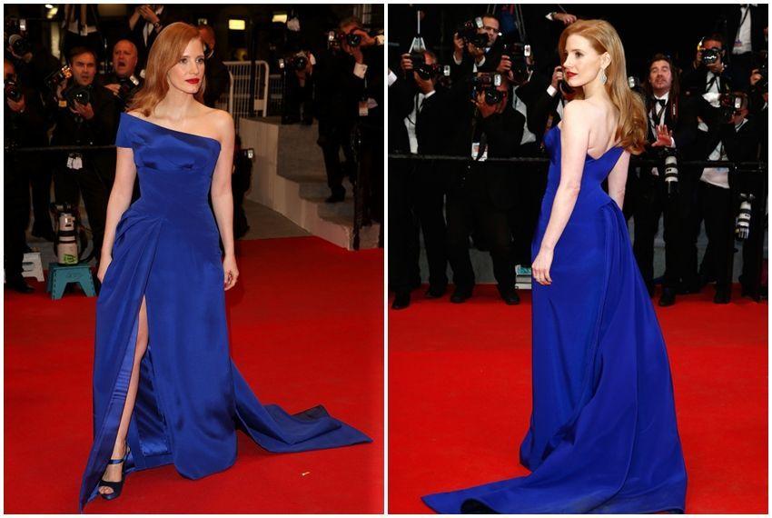 Jessica Chastain u Atelieru Versace na crvenom tepihu u Cannesu