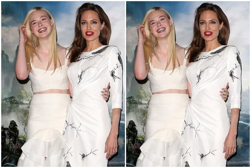 Elle Fanning i Angelina Jolie na londonskoj premijeri filma Maleficent