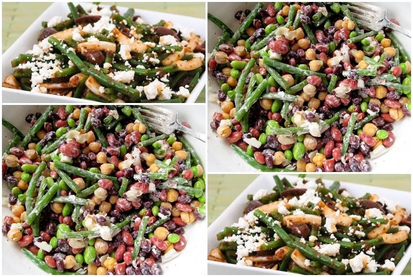 Salata od graha, zelenih mahuna i kozjeg sira