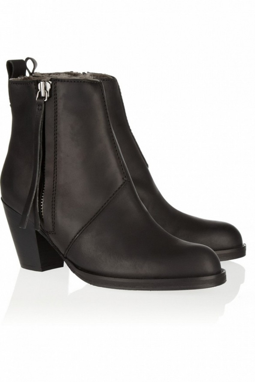 Acne Studios The Pistol Shearling-Lines Leather Ankle Boots ($650)