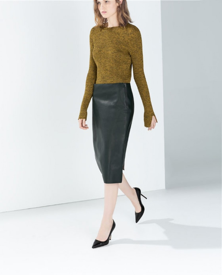 Zara Synthetic leather pencil skirt