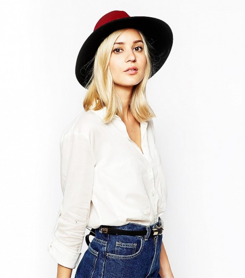 River Island Color Block Fedora Hat with Studded Trim