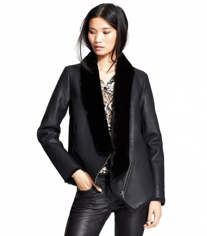The Kooples Faux Leather Jacket with Faux Fur ($625)