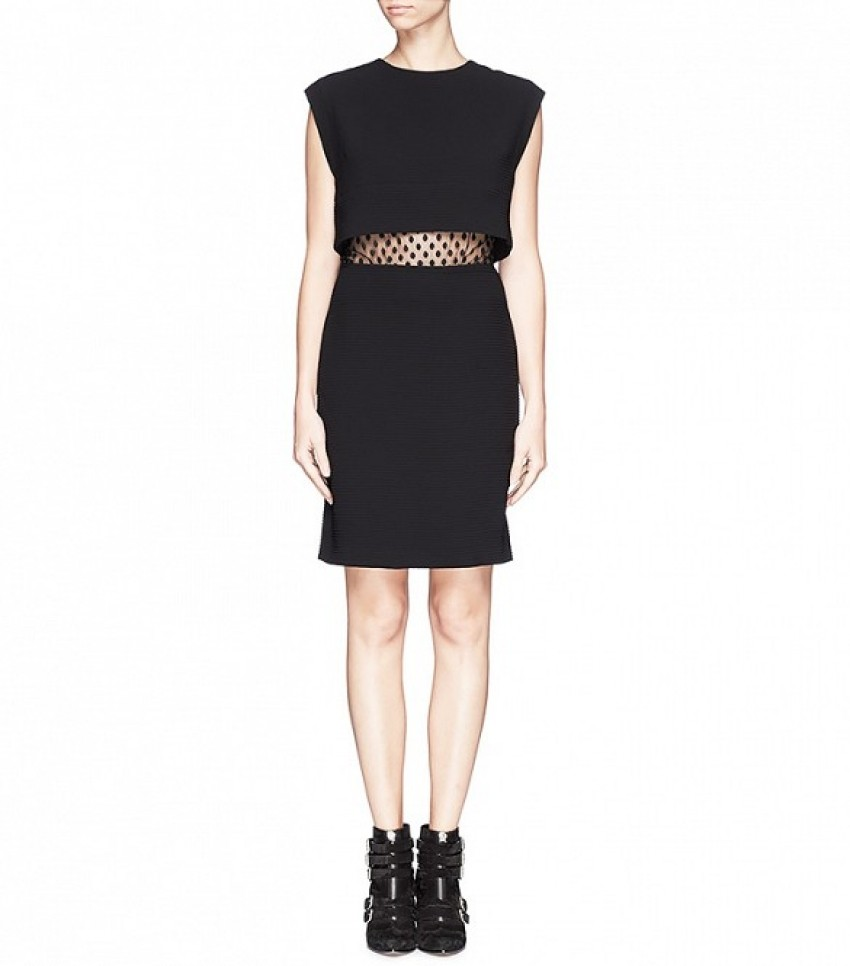 Sandro Roberta Spot Lace Midriff Dress ($455)