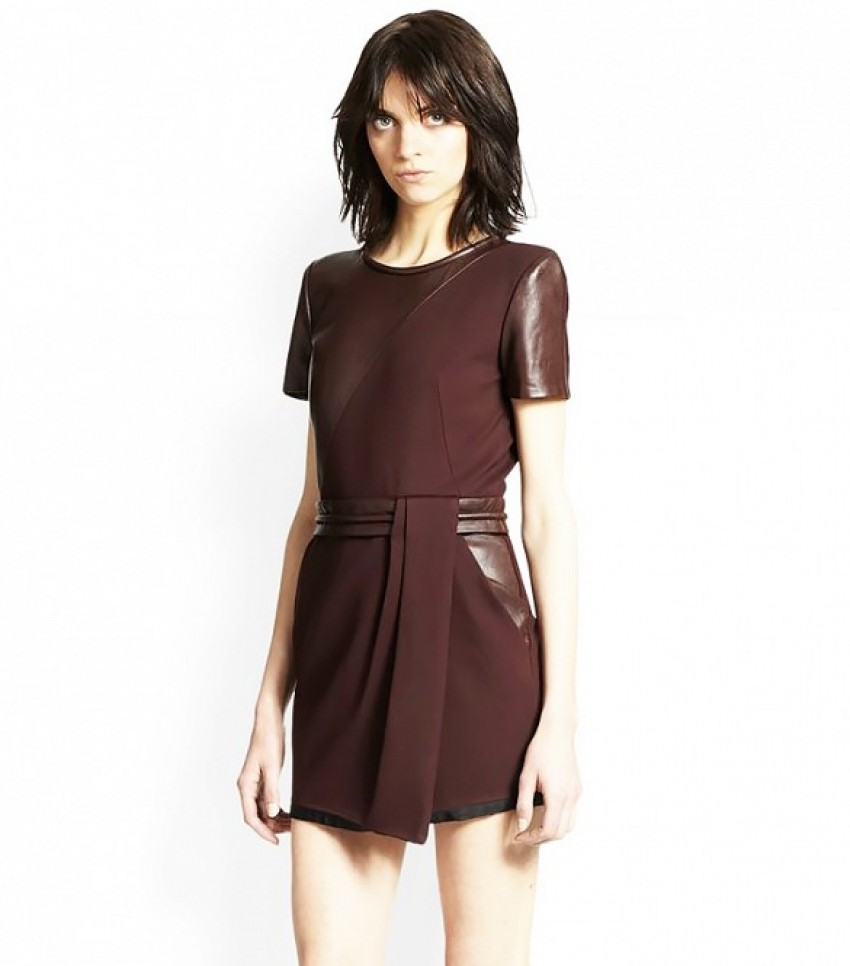 The Kooples Leather-Paneled Crepe Dress ($425)