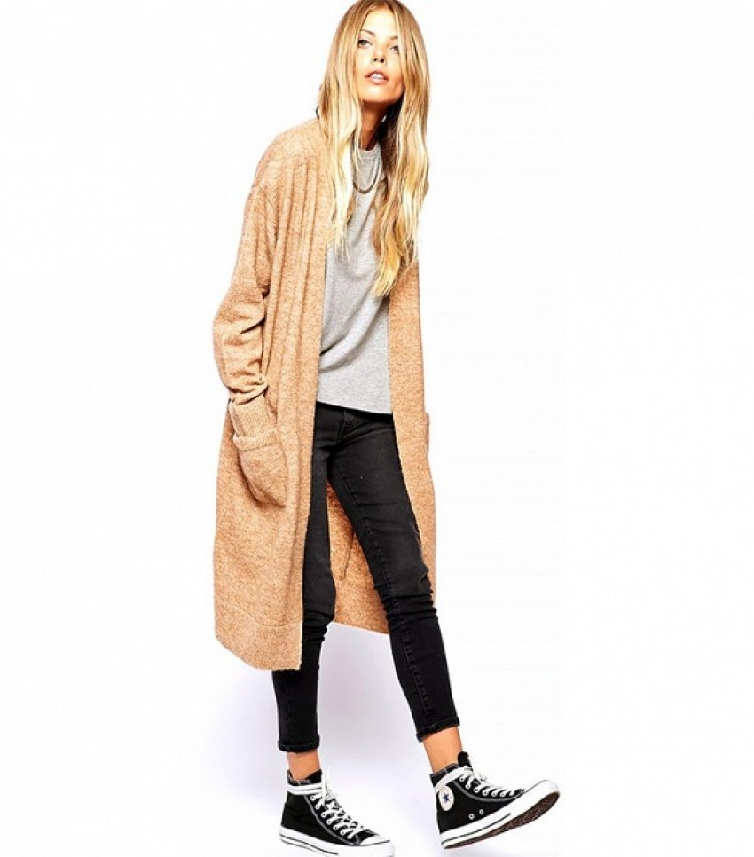 ASOS Longline Cardigan with Mohair ($95) in Camel