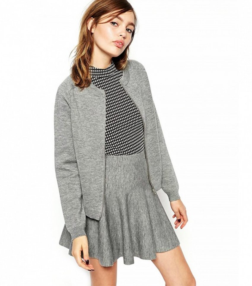 ASOS Co-ord Bomber Cardigan In Structured Knit ($66) i ASOS Co-ord Skirt In Structured Knit ($57)