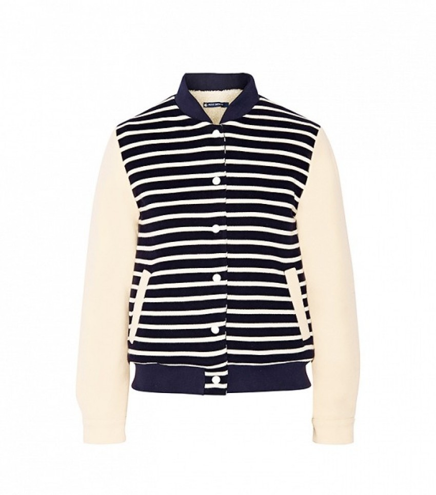 Petit Bateau Faux Shearling-Lined Striped Cotton-Jersey Jacket ($305)