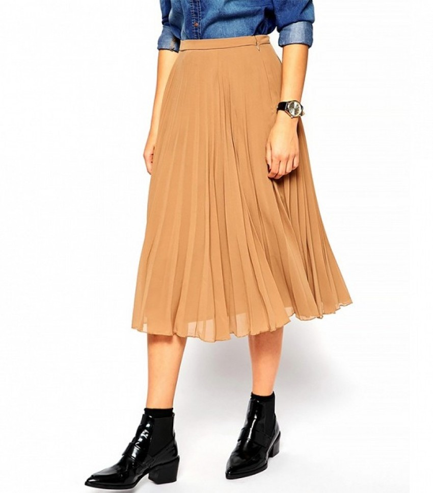 ASOS Pleated Midi Skirt ($57) in Camel