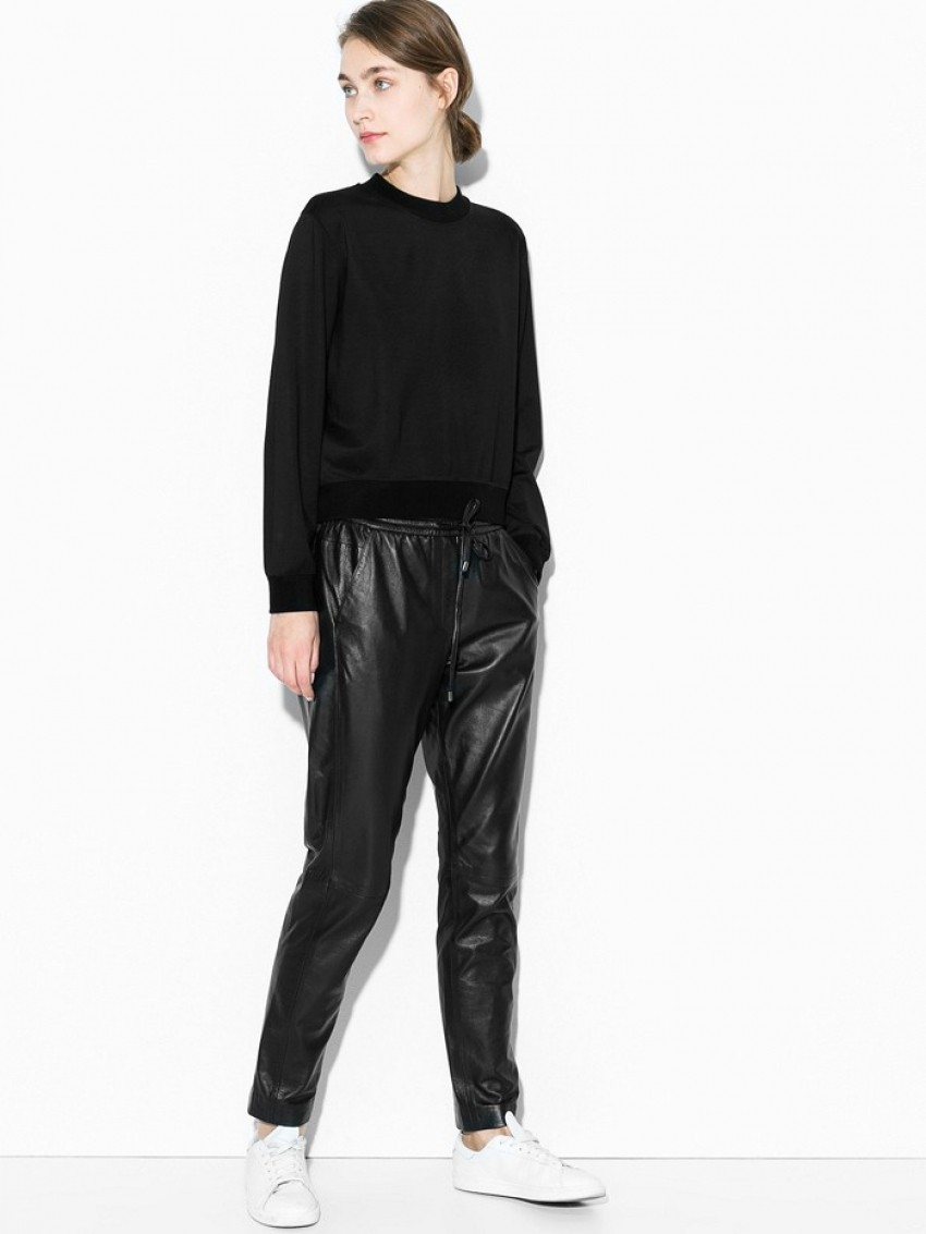 Mango Straight-Fit Leather Trousers