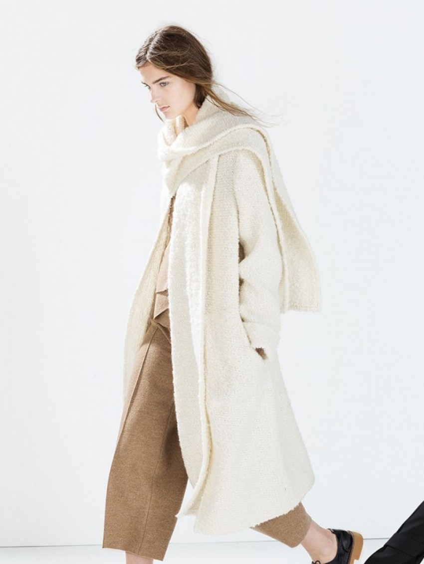 Zara Studio Knit Coat with Scarf Collar ($279)