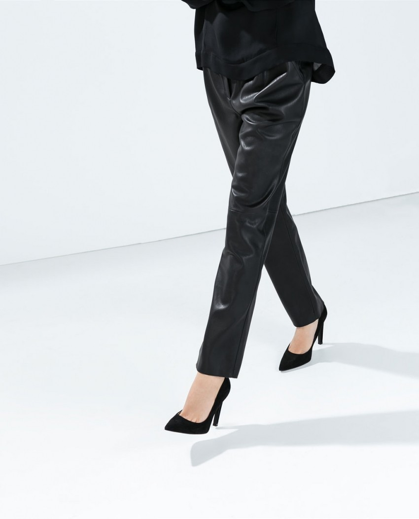 Zara High Waist Faux Leather Trousers