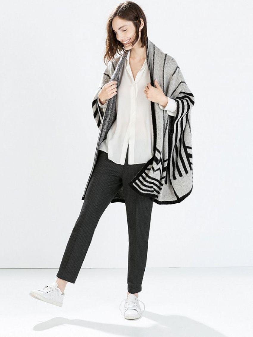 Zara Intarsia Poncho Cardigan ($80)