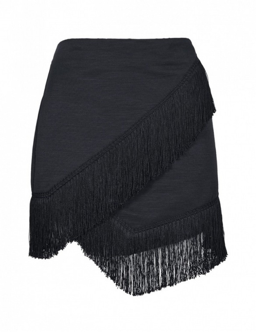 Topshop Fringe Trim Wrap Skirt