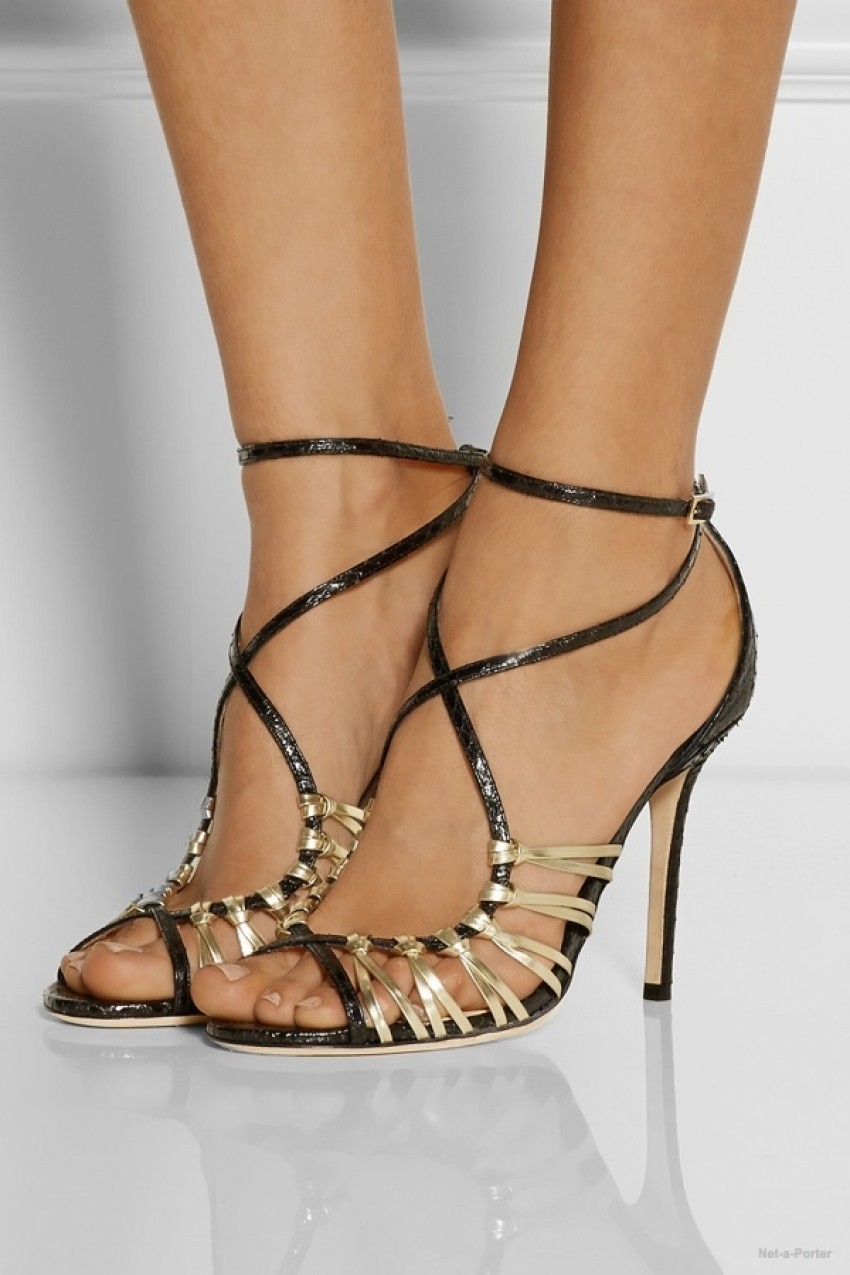 Jimmy Choo Legia elaphe and metallic leather sandals available at Net-a-Porter for $1050