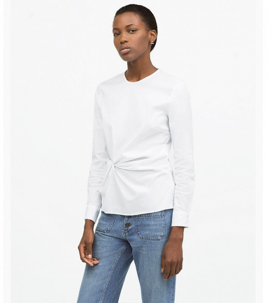 Zara Draped Front Poplin Shirt ($69)
