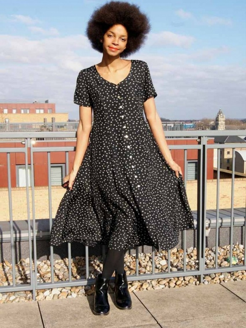 Next Vinatge 90s Black Polka Dot Button Up Dress ($41)