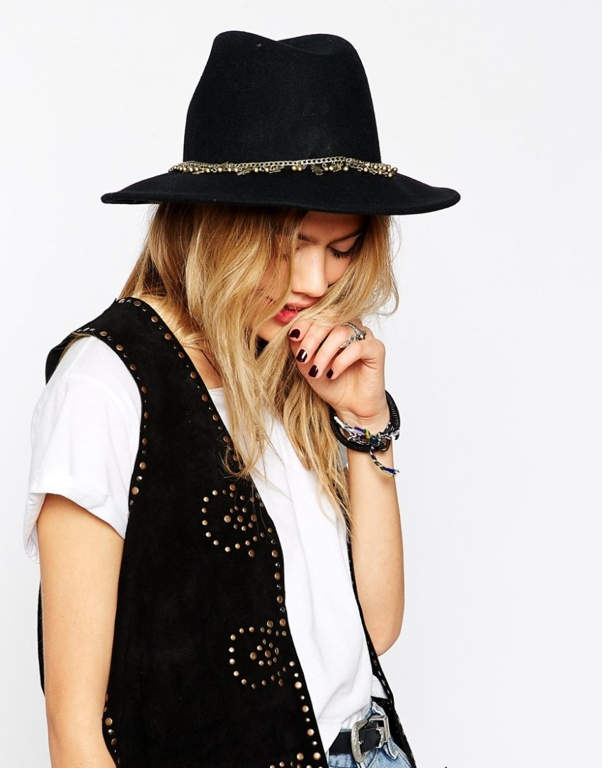ASOS Felt Fedora Hat With Hands Trim €30.06