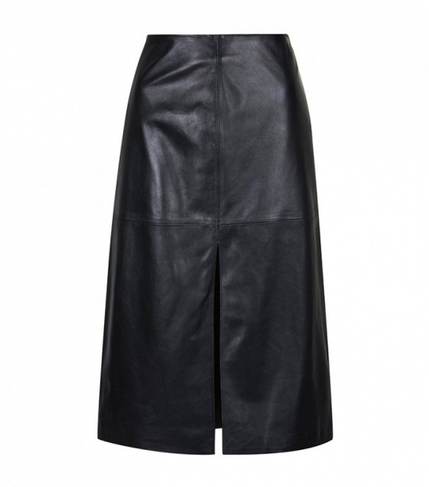 Topshop Leather Split Front Skirt