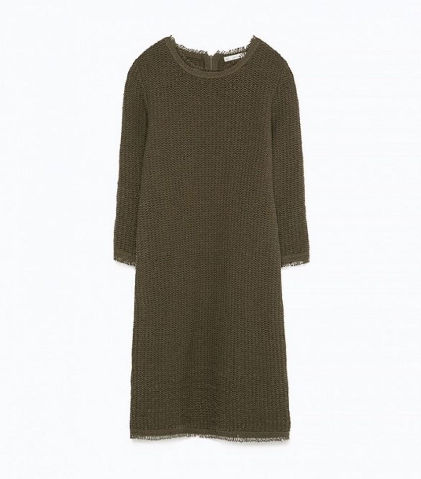 Zara Fringed Textured Dress