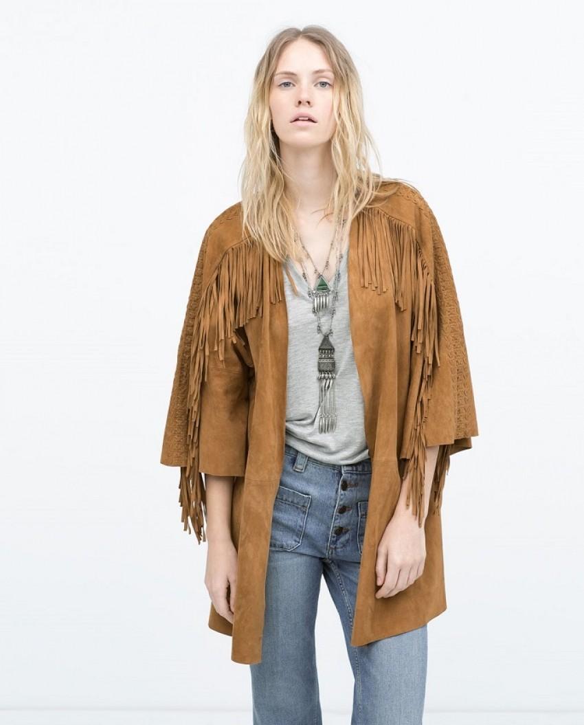 Zara Long Fringed Suede Jacket (1,999.00 HRK)