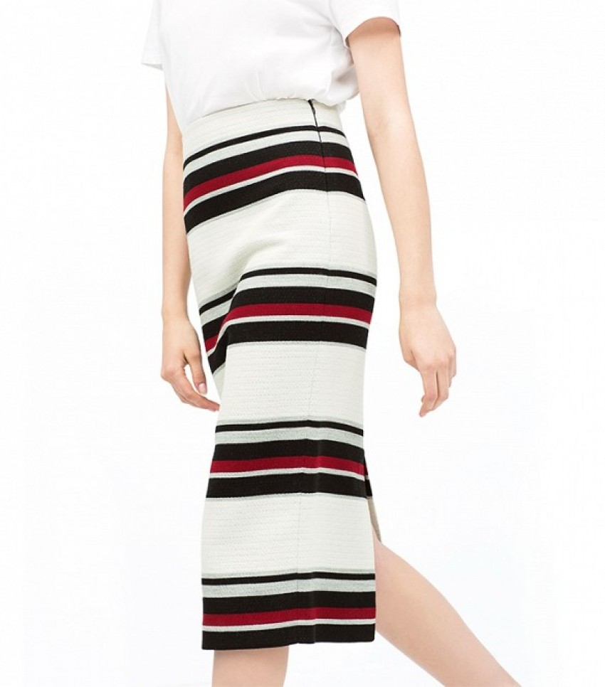Zara Striped Midi Tube Skirt